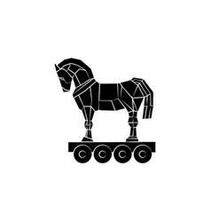 Trojan horse icon black on white background vector