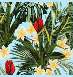 Tropical lilies bud plumeria flowers seamless vector
