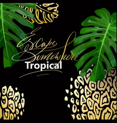 tropical summer print with leaves and golden vector image