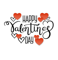 valentines day lettering and red paper hearts vector image