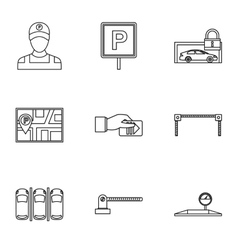 Valet parking icons set outline style vector