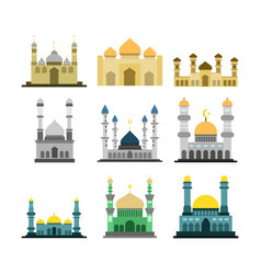 Various islamic mosque building design set vector