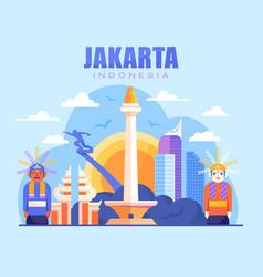 Vibrant city of jakarta vector