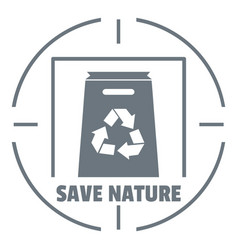 waste recycling logo simple gray style vector image