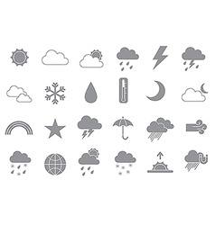 Weather forecast gray icons set vector