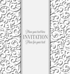 Wedding card with paper lace frame lacy doily vector