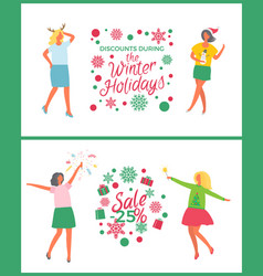 winter holidays sale christmas party of people vector image