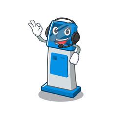 With headphone digital information cartoon kiosk vector