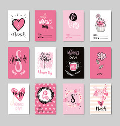 Women day background holiday greeting cards set vector
