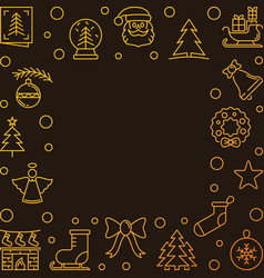 xmas golden line background with empty vector image