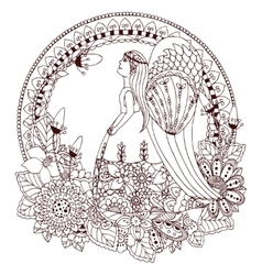 Zen Tangle angel girl with vector