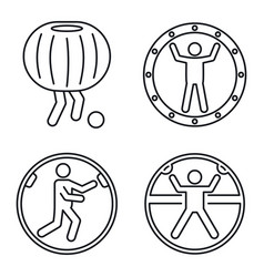 Zorb ball activity icons set outline style vector