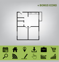 apartment house floor plans black icon at vector image vector image