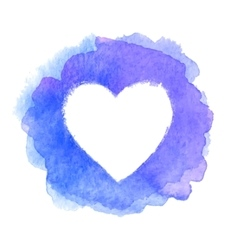 Blue watercolor painted heart shape frame vector image