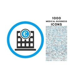 Euro Company Building Rounded Icon with 1000 Bonus vector image