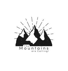 mountain logo with snow ice tops and retro sun vector image