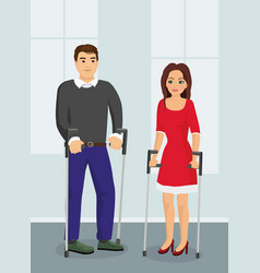 people with crutches vector image