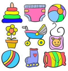 Set of baby element set various doodles vector