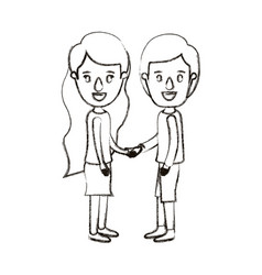 Blurred silhouette caricature full body couple in vector
