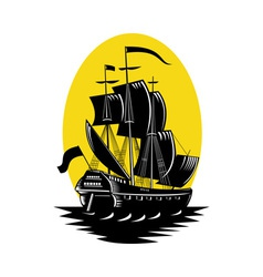 galleon sailing ship at sea vector image vector image