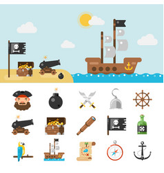 pirate icons and full vector image vector image