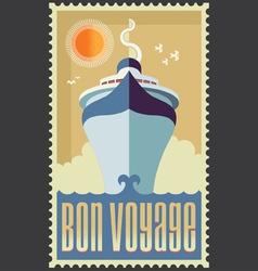 Retro Vintage Retro Cruise Ship Design vector image