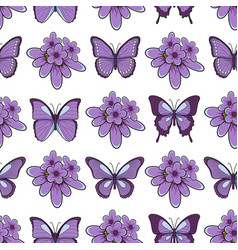 seamless pattern with lavender flowersbutterflies vector image vector image