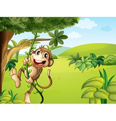 A hanging monkey and a beautiful nature vector image vector image