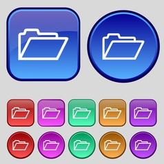 Folder icon sign A set of twelve vintage buttons vector image vector image