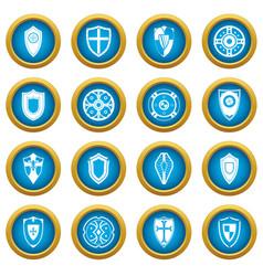 shields set icons blue circle set vector image vector image