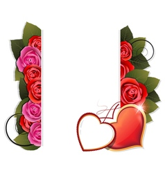 Valentine hearts and roses background vector image