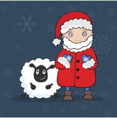 with Santa Claus and white Sheep greeting card vector image