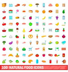 100 natural food icons set cartoon style vector