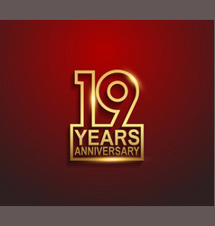 19 years golden anniversary line style isolated vector