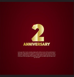 2nd anniversary celebration golden number 1 with vector