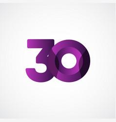 30 years anniversary celebrations purple template vector