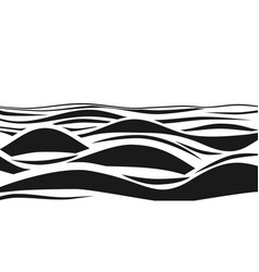 Abstract black and white striped 3d waves vector