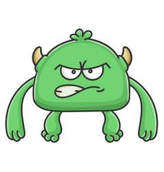 Angry green goblin cartoon monster vector