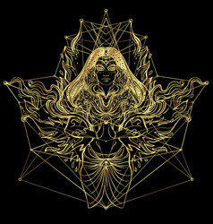 asian magic woman with sacred geometry and fire vector image