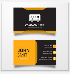 Bank safe box icon business card template vector
