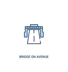Bridge on avenue perspective concept 2 colored vector