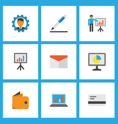 business icons flat style set with bank card vector image