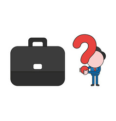 businessman character with briefcase and holding vector image