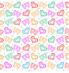 Butterfly love hand drawn pattern vector