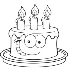 Cartoon Cake with Candles vector