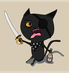 Cat pirate with a bottle of rum and a blade cute vector