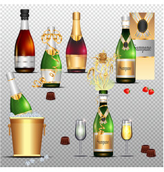 Champagne holiday colorful flat set on transparent vector