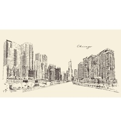 Chicago Big City Architecture Engraving vector