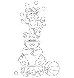 circus monkey and bear vector image