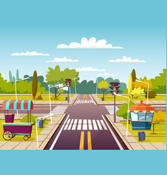 city street cartoon of traffic vector image